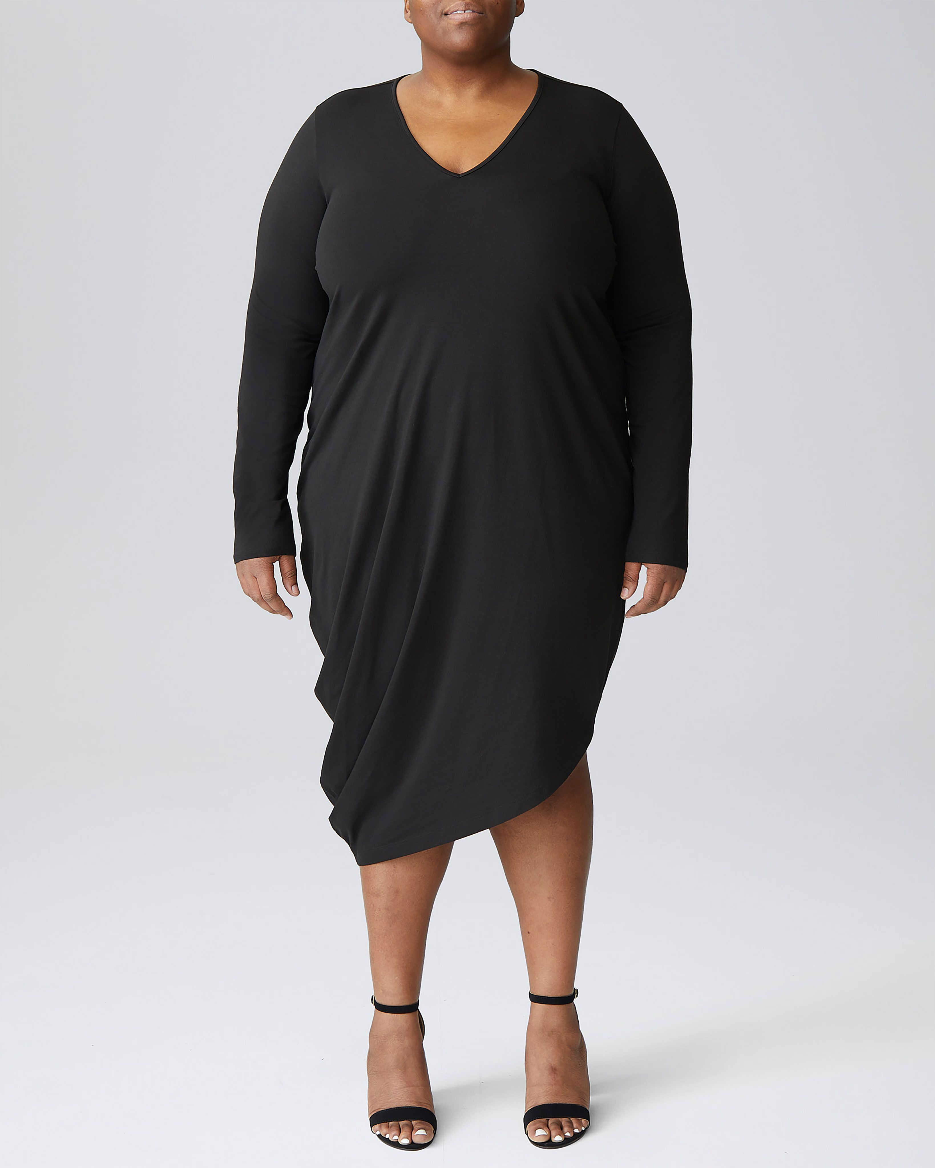 Long Sleeve V-Neck Geneva Dress - Berry