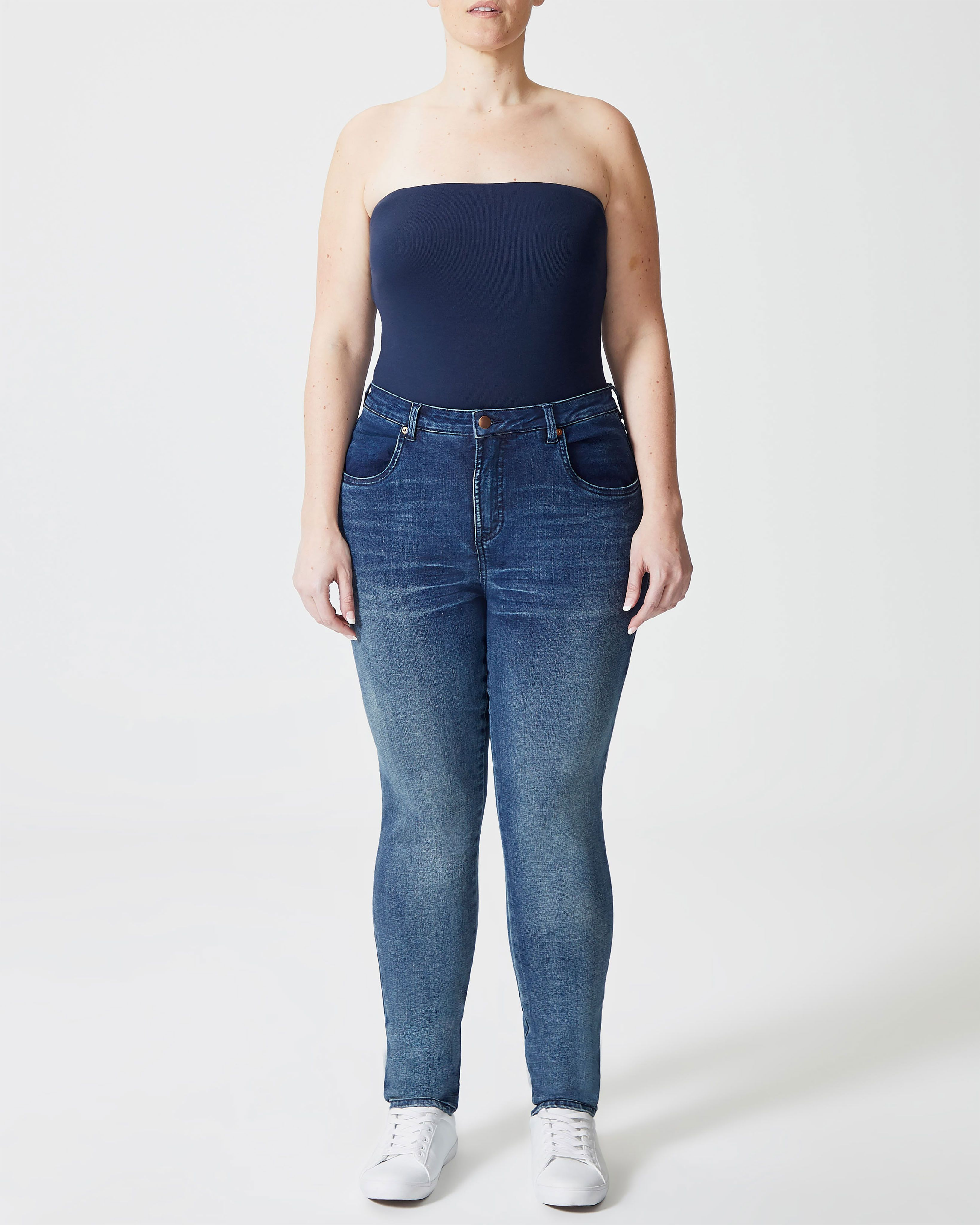 Seine High Rise Skinny Jeans 32 Inch - Distressed Blue